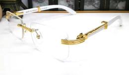 Lunettes en bois sans cadre en Ligne-2019 marque designer femmes accessoires verre rouge verre corne de buffle blanc lunettes sans cadre lunettes de vue or avec boîte jaune rouge bleu rose