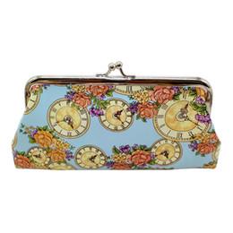 2019 relógio, bolsas ISHOWTIENDA Moda Mulheres Bonito Coin Purse Printing Relógio Cartão Titulares Bolsa Floral Flap mulheres sacos de bolsa feminina relógio, bolsas barato
