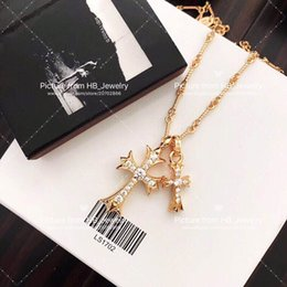 brand gold necklaces Promo Codes - Popular fashion brand gold cross designer necklace for lady Design man and Women Party Wedding Lovers gift Luxury Hip hop Jewelry