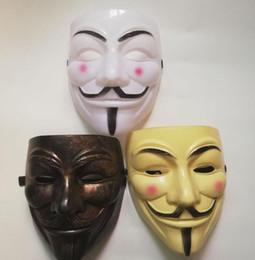 v para trajes de vendetta Desconto V Vendetta Mask Guy Faws PVC terror Anonymous Halloween máscaras faciais Máscaras Cosplay Masquerade partido novo GGA2653