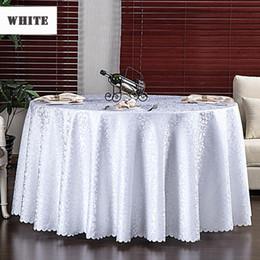 Çok Boyutu Düğün Parti Jakarlı Polyester Kumaş Katı Yuvarlak Bez Otel Dikdörtgen Masa Örtüsü Ev Yemek Masası Kapağı Q190603 cheap round wedding table covers nereden yuvarlak düğün masa örtüleri tedarikçiler