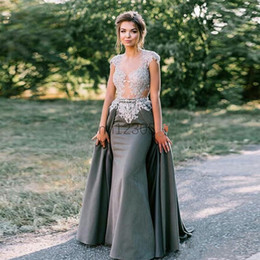 satin grey dress mermaid Promo Codes - Grey Mermaid Evening Dresses With Overskirt Sheer Neck Cap Sleeve Sweep Train Appliques Beads Long Formal Prom Party Gowns robes de soirée
