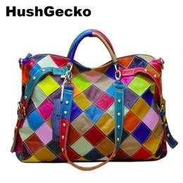 2019 blocchi di borsa 2019 Nuove borse donna Casual Colorful Blocks Patchwork Women Tote Bags Borse in vera pelle da donna sconti blocchi di borsa