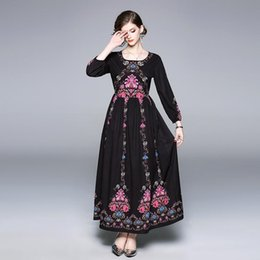 7e5d747fd16 fitted floral maxi dress 2019 - Maxi Pleated Prom Gowns Women Vintage  Runway Dresses Long Sleeve