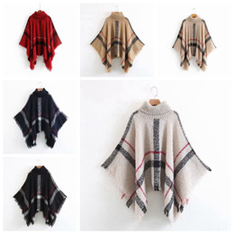 Вязание шарфов кисточки онлайн-Tassel Cloak Shawl 6 Colors Women Sweater High Collar Knitted Pullover Poncho Cape Loose Scarf Shawls Party Favor RRA2270