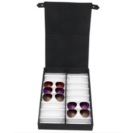 storage for clothing Promo Codes - Glasses display case 16 pairs Storage box with foldable lid for sunglasses glasses box (Black + white)