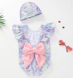 2019 traje de baño rosa una pieza 2019 Ins Kids Girl Traje de baño de una sola pieza con gorra de sirena Escote de volante Volver Bowknot Traje de baño Body Estiramiento