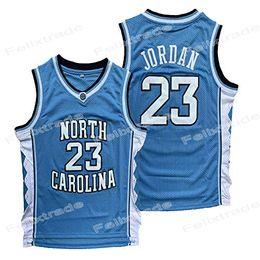 scuola nera degli alti talloni Sconti Tacchi Uomini North Carolina UNC Tar 23 Michael universitario NCAA Basketball Maglie Bianco Blu Nero shirt con doppio Stiched IN AZIONE