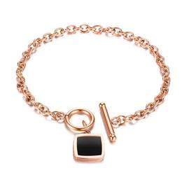 edelstahl quadratische verbindung Rabatt Koreanische einfache retro schwarz edelstahl platz kette armband schmuck rose gold titanium stahl damen armband urlaub geschenk