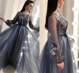 532181d07bf formale romantische abendkleider Rabatt Sheer Romantic Long Sleeves Formale  Abendkleider 2019 Keyhole Hals A Line Stickerei