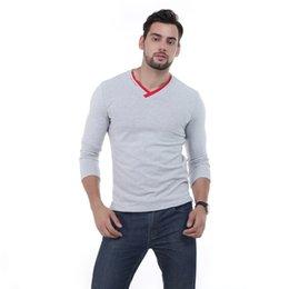 camisas pescoço v pescoço camisas Desconto Masculino Brand New Manga Longa Sólida T Shirt V -Neck Collar Magro Dos Homens T-shirt Tops Moda Mens Camiseta Camisetas 5xl