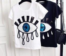 Maillots de filles en Ligne-Grands Yeux Femmes Designer T-shirts De Mode Applique Broderie Tops À Manches Courtes Chemises Mignon Casual Filles Sous-chemise