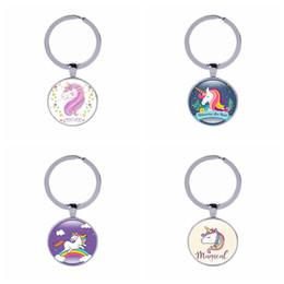 anéis artesanais grátis Desconto Unicórnio Chaveiros Cut Rainbow Cavalo Chaveiros DHL Livre Crianças Presentes Crianças Saco de Jóias Acessórios Handmade Vidro Cabochão Anel Chave