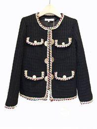 Chaquetas blancas coreanas online-2018 Otoño Invierno Chaquetas de tweed vintage Mujeres Abrigos blancos de lana cortos Mujer Streetwear coreana Slim Warm Outwear Windbreaker