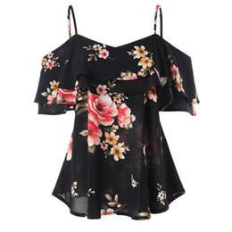 Camisa negra volante online-Para mujer de Impresión Floral Negro Volantes Volantes de Hombro Camiseta Sin Mangas Chaleco Tops Ropa de Verano Camisas de Niña Femenina camisetas