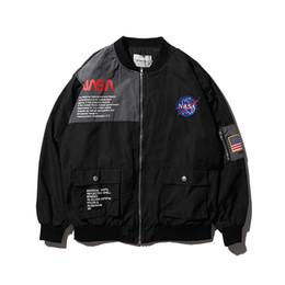 remendos nasais Desconto EUA Bandeira Patch Casacos Bordados Piloto de Vôo NASA Mens Designer Jaquetas Casuais Jaqueta Bomber MA1 Carta Impresso Casaco Mens Outerwear