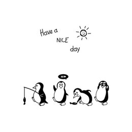 Havea Nice Day Cute Penguin Sticker Kitchen Fridge Wall Stickers Art Novelty Funny Refrigerator Decoration Fridge Magnets #O от Поставщики украшения пингвинов
