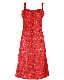 Vestido vermelho vermelho vestido de bolinhas brancas on-line-Verão plissado backless sexy dress mulheres botão branco polka dot beach dress 2018 floral vintage lápis vermelho dress vestidos