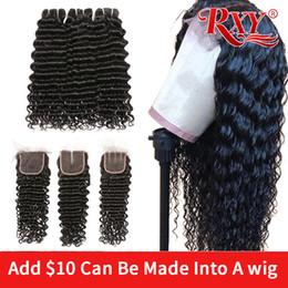 tecelagem longa e barata Desconto Onda profunda 3 pacotes com fecho Pode ser processado em uma peruca 250% perucas peruca dianteira do laço do cabelo humano encaracolado