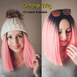 2020 peluca africana de dos tonos Dos tonos cortos Bob Ombre pelucas para las mujeres de calor sintético resistente peluca sin cola Bob afroamericano sintética del pelo de Cosplay pelucas 99J Rosa Rojo rebajas peluca africana de dos tonos