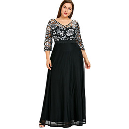 535a97ac123e Gamiss Plus Size Sequined Floral Maxi Prom Women Party Long Dress 3 4 Length  Sleeves Floral High Waist Woman Formal Dresses 5xl Q190402
