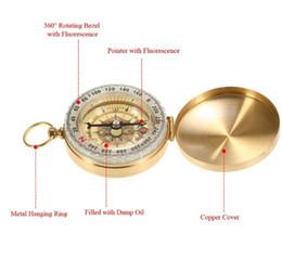 anéis estilo compasso Desconto Luminosa de Bolso de Bronze Bússola Relógio Estilo Antigo Do Vintage Anel KeyChain Camping Caminhadas Bússola Ferramenta de Navegação Ao Ar Livre Frete Grátis