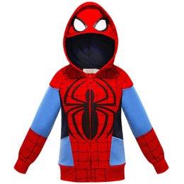 Spider man hoodies für kinder online-Kinder Jungen Spider-Man-Jacke Boy Hoodies Spider-Man-Mantel Kinder Sweatshirts Mode Cosplay Kostüm