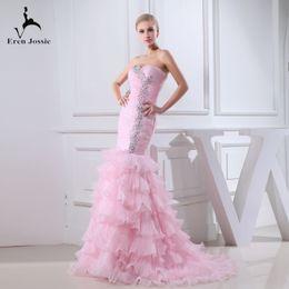 Eren Jossie 2019 Off the Shoulder Ruffled Organza Luxury Design Abito da sposa rosa con strass Abito da sposa attraente supplier pink camo design da disegno rosa camo fornitori