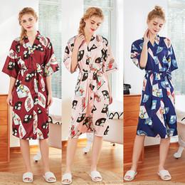 Женские новые шелковые свадебные пижамы весной и летом с половиной рукавов средней длины икры невесты красная невеста утреннее платье домашние халаты от
