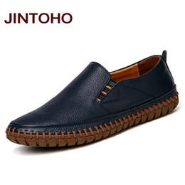2019 echte männer italienische schuhe JINTOHO Big Size Männer echtes Leder-Schuhe Beleg auf Schwarze Schuhe aus echtem Leder Loafers Herren Mokassins italienische Designer-Schuhe rabatt echte männer italienische schuhe