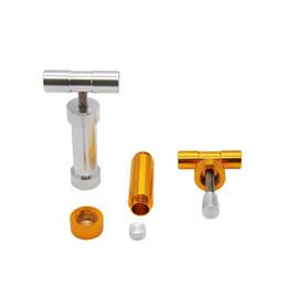 Hochleistungsrohre online-Premium Aluminiumlegierung T Griff Pollenpresse Hash Compress 28 MM T Form Heavy Duty Durable Metall Zylinderpresse Pollen Metallpfeifen