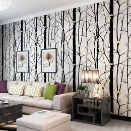 carta da parati rosa nera del fiore Sconti Nuovo Nordic Black White Tree Flower Wallpaper 3D Ror Living Room Tv Walls 3 D Pink Branch Modern Wall Rotolo di carta