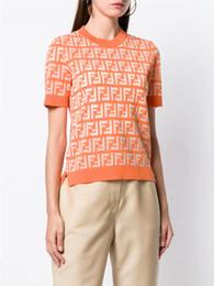 Diseñador de mujeres de punto transparente tops 2019 marca de verano del mismo estilo carta de cuello redondo jacquard manga corta elástica camisetas casual tops desde fabricantes