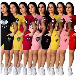 2019 maglietta delle labbra del sequin Fashion Bling blings Eye Lips Paillettes Abiti T Shirt Shorts 2 pezzi One Suit Sportswear Lady Home Clothing 39lh E1 sconti maglietta delle labbra del sequin