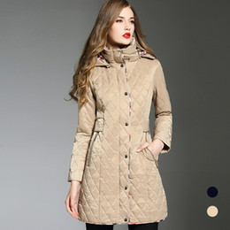 hat winter diamonds Coupons - DHL Free shipping trench coat Winter new warm thick large size diamond shape blue hooded long trench coat for women