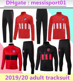 2019 2020 Tuta da allenamento Atletico di alta qualità GRIEZMANN FTORRES KOKE Tuta da calcio 2019/20 Madrid lunga Tuta da calcio rossa con cerniera cheap red tracksuits da tute sportive rosse fornitori
