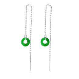 2019 linea di giada New Green Jade Circle Charm Orecchini s925 catena in argento sterling catena retrò ciondola i gioielli delle donne di goccia sconti linea di giada