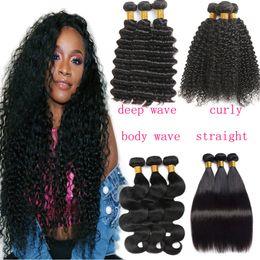 2019 permanentes extensions de cheveux humains 9a Bundles de cheveux malaisiens brésiliens de cheveux vierges tisse la vague de corps droite profondément bouclée vague d'armure 3 faisceaux de cheveux péruviens
