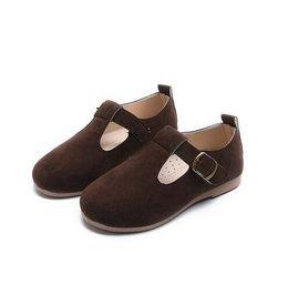 Весенняя и осенняя детская обувь для девочек принцесса Светло-коричневые мокасины для детей темно-коричневые кожаные туфли от