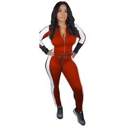 Survêtements bourgogne en Ligne-Survêtement Femmes Deux Pièces Ensemble Color Block À Manches Longues Crop Top Sweat Slim Pantalon Femmes Costume Sportswear Fitness Set Bourgogne