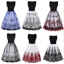 494f3fb262e Women Vintage 1950s Dress Retro Rockabilly Floral Print White Party Dress  Black Elegant Female 2017 Audrey Hepburn Dress FS1722
