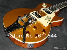 chevalet basse électrique Promotion Meilleurs instruments de musique Nouvelle guitare électrique personnalisée Goldtop avec Bigby Livraison gratuite HOT