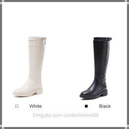 botas brancas altas joelho alto Desconto Outono e inverno novo joelho botas de cano alto Martin botas flat longo tubo Cavaleiro botas net vermelho branco senhoras