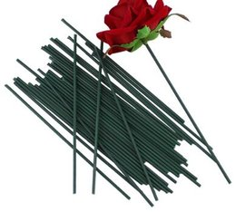 fiori di gambo di filo Sconti Fiori finti gambo verde scuro filo fiore artificiale accessorio testa per la decorazione della festa nuziale 50pcs 13cm