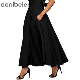 Задняя юбка онлайн-Aonibeier Zip-back широкий пояс качели юбки Мода сплошной цвет высокая талия макси юбка двойной карман кружева-up a-line юбка Y19043002