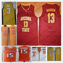Jersey amarillo rojo online-Wake Forest Demon Diáconos # 3 Chris Paul Yellow Arizona State Sun Devils 13 James Harden Rojo Blanco Syracuse Naranja # 15 Carmelo Anthony Jersey