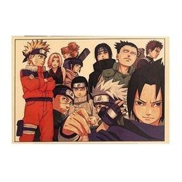 Cartazes de crianças vintage on-line-Naruto Poster Dos Desenhos Animados do vintage Anime Bar Kids Room Decor Home Comics Naruto Retro Pintura De Papel Kraft 51 * 35 cm