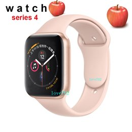 Echte uhren online-44mm goophone watch 4 aluminiumlegierung digital crown wireless charge mtk2502 bluetooth control echtzeit pulsmesser für iphone xs max