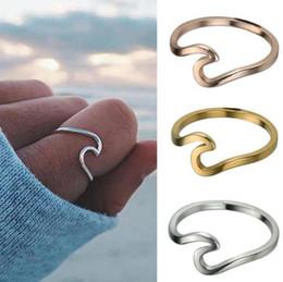 anello di fidanzamento stile coreano Sconti onde dell'oceano New Beach all'ingrosso anelli anelli di fidanzamento Donne minimalista stile coreano oro in oro rosa per le donne gioielli di moda A0132