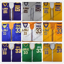 school shirt men Promo Codes - 2019 NCAA LSU Tigers #25 Simmons Retro Jerseys 33 O'Neal Vintage Shirt Ben Shaquille Yellow Purple White Black Men's COLE Green High School